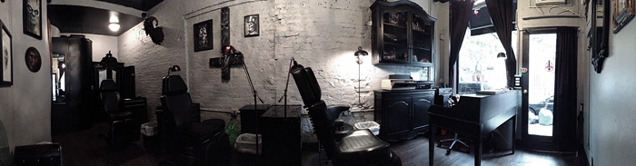 Tribulation Tattoo shop interior.